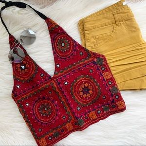 Tops - Festival Red mirror embroidered boho halter top